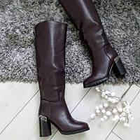 Чоботи жіночі зимові екошкіра на високому каблуку. 40, фото 1