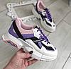 Кросівки жіночі білі з фіолетовими та рожевими вставками екошкіра