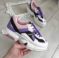 Кросівки жіночі білі з фіолетовими та рожевими вставками екошкіра, фото 1