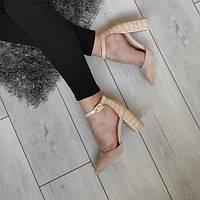 Туфлі жіночі на низькому каблуку бежеві екозамша, фото 1