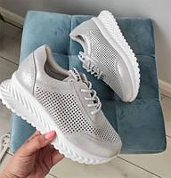 Кросівки жіночі шкіряні срібні, фото 1