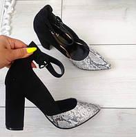 Туфлі чорні жіночі на каблуку з ремінцем 38р, фото 1