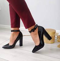 Туфлі чорні лаковані жіночі на каблуку з ремінцем 38р, фото 1