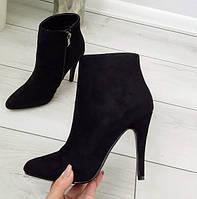 Черевики жіночі демісезонні чорні на каблуку шпильці екозамша, фото 1