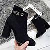 Черевики жіночі демісезонні чорні на каблуку екозамша 39р