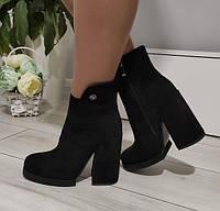 Черевики жіночі демісезонні чорні на каблуку екозамша, фото 1