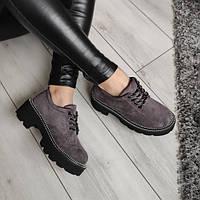 Туфлі сірі жіночі екозамша, фото 1