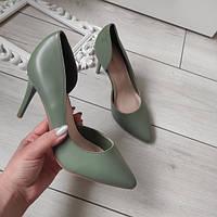 Туфлі лодочки зелені жіночі на каблуку шпильці екошкіра, фото 1
