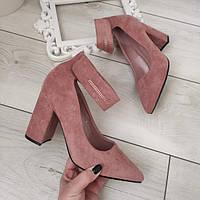 Туфлі пудрові жіночі на каблуку екозамша, фото 1