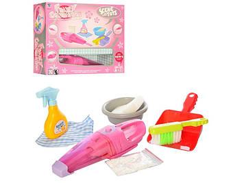 Набір для прибирання: пилосос 26см,відро,щітки,миска,совок,світ.,у кор-ці №XS-597(18)