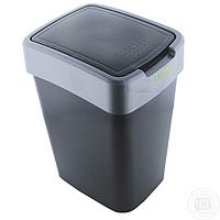 """Ведро для мусора плоская кр. 10 л """"Євро"""" серое"""