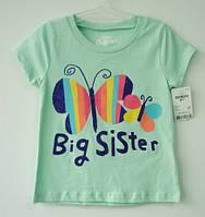 "Футболка для девочки (рост 88-98 см) ""Бабочки"" (мятная) OshKosh / футболка дівчинці ріст 88-98 см"