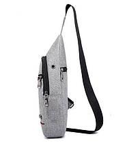 Сумка слинг через плече / нагрудная серая мужская с USB-выходом 1188750397, фото 3