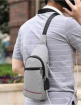 Сумка слинг через плече / нагрудная серая мужская с USB-выходом 1188750397, фото 2