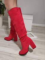 Чоботи жіночі демісезонні червоні на каблуку екозамша