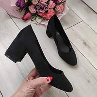 Туфлі чорні жіночі на низькому каблуку екозамша