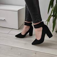 Туфлі чорні жіночі на каблуку екозамша, фото 1
