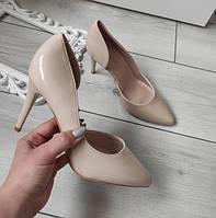 Туфлі бежеві лодочки жіночі на каблуку шпильці екошкіра лакована 36р, фото 1