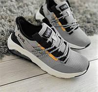 Кросівки сірі з чорними вставками текстильні, фото 1