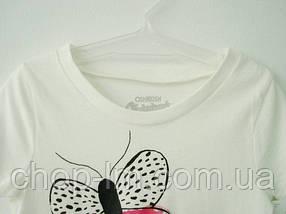 "Футболка для девочки (рост 93-98 см, 3 года) ""Бабочки"" (белая) OshKosh / футболка для дівчинки 3 роки, ріст 93, фото 2"