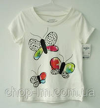 "Футболка для девочки (рост 93-98 см, 3 года) ""Бабочки"" (белая) OshKosh / футболка для дівчинки 3 роки, ріст 93"