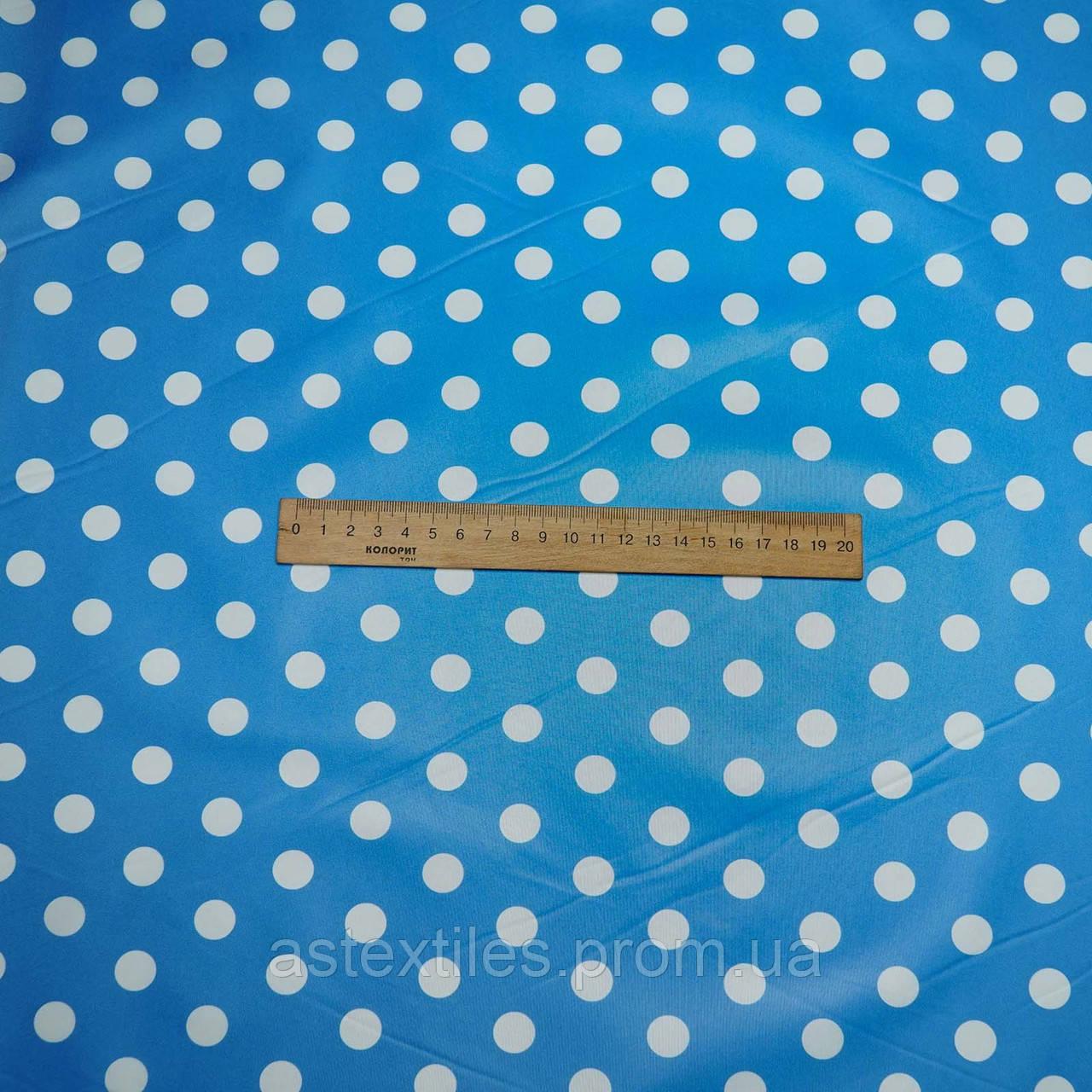 Плащівка лаку принт (білий горох на блакитному тлі)