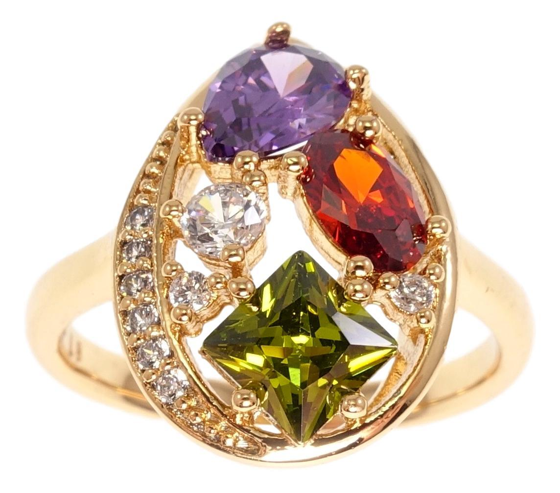 """Кольцо ХР Позолота 18K """"Крупная капля вставки яркие фигурные кристаллы"""" 17,18,19"""