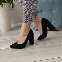 Туфлі лодочки чорні жіночі на каблуку екозамша, фото 1