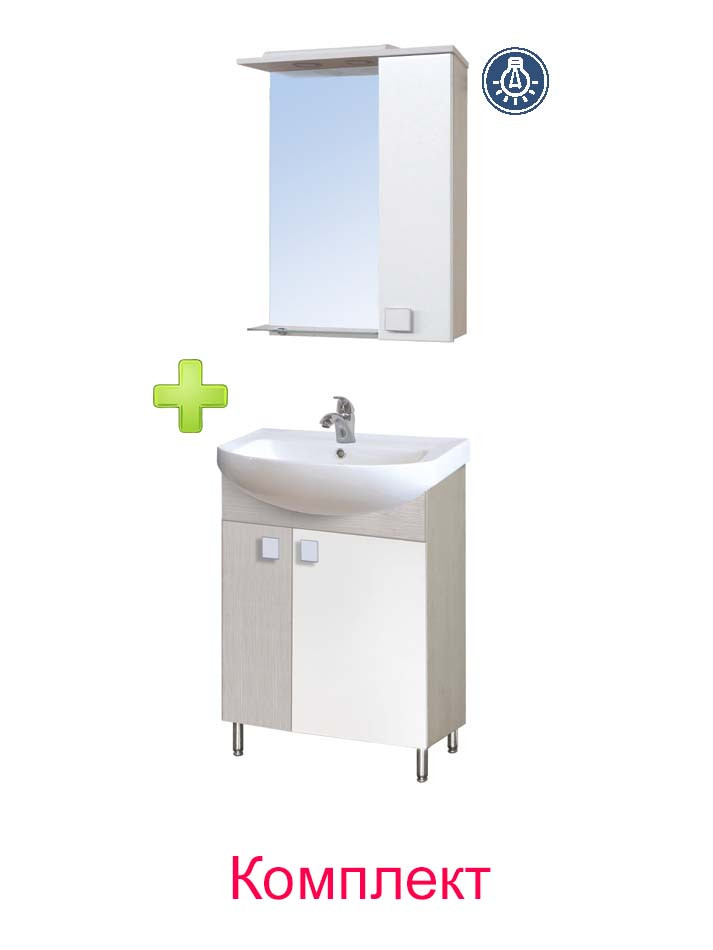 Комплект мебели Мойдодыр - Тумба Домино 60 и Зеркальный шкаф СШ-60 беж