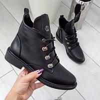 Черевики жіночі чорні екошкіра на низькому каблуку 40р, фото 1