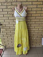 Сарафан коттоновый длинный, в пол, есть большие размеры WHOLE FORKS, Турция