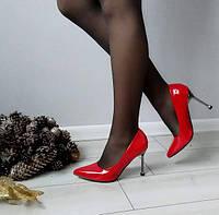 Туфлі червоні жіночі на каблуку шпильці лакові, фото 1
