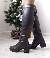 Чоботи жіночі коричневі зимові екошкіра на низькому каблуку. Тільки 36 розмір!, фото 1