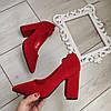 Туфлі червоні жіночі на каблуку екозамша 38р