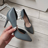 Туфлі лодочки жіночі на каблуку шпильці сині екошкіра 38р, фото 1