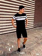 Шорты + Футболка мужские Lines x black-white   летний комплект, фото 1