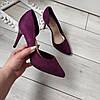 Туфлі лодочки бордові жіночі на каблуку шпильці екозамша 36