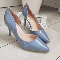 Туфлі лодочки жіночі на каблуку шпильці сині екошкіра 40