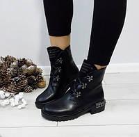 Черевики жіночі чорні зимові екошкіра на низькому каблуку.