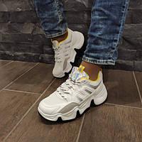 Кросівки жіночі білі з жовтими вставками 39
