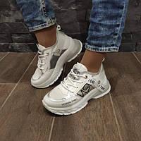 Кросівки жіночі білі з сріблястими вставками, фото 1