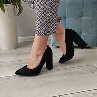 Туфлі лодочки чорні жіночі на каблуку екозамша 39