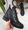 Черевики жіночі чорні  екошкіра на низькому каблуку 36р