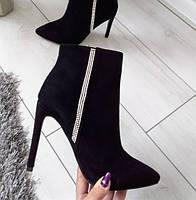 Черевики жіночі демісезонні чорні на каблуку шпильці екозамша 37р, фото 1