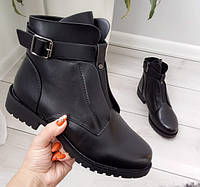 Черевики жіночі чорні зимові екошкіра на низькому каблуку 41р, фото 1