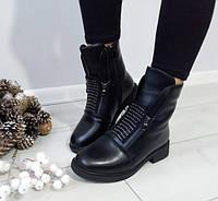 Черевики жіночі чорні зимові екошкіра на низькому каблуку 39 р, фото 1