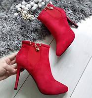 Черевики жіночі демісезонні червоні на каблуку шпильці екозамша 37