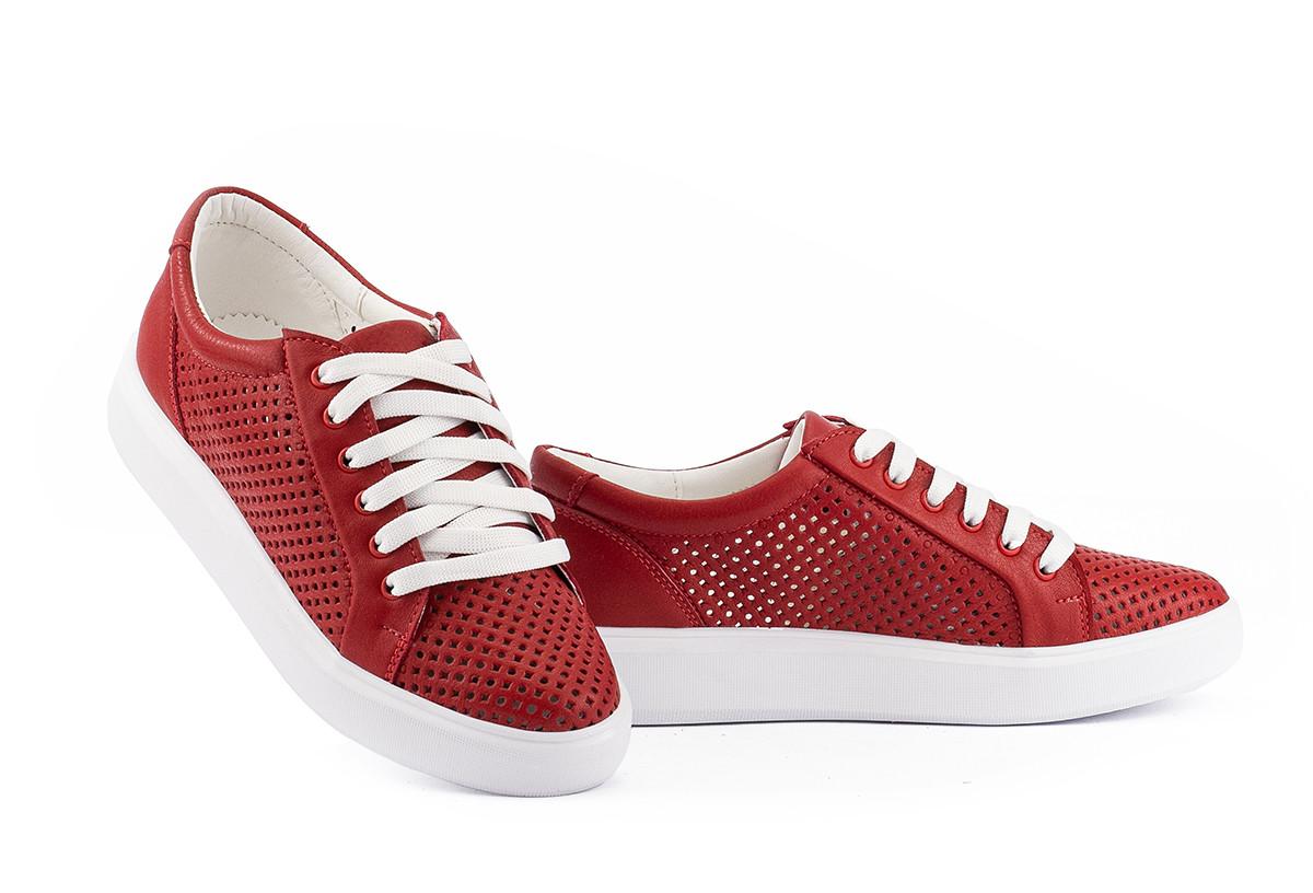Женские кеды кожаные летние красные Yuves 591 Red Перфорация