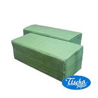 Полотенца зеленые 1-слойные 4000 (20уп*200шт) V-складка Тиша [atP102]