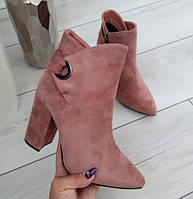 Черевики жіночі демісезонні пудрові на каблуку екозамша